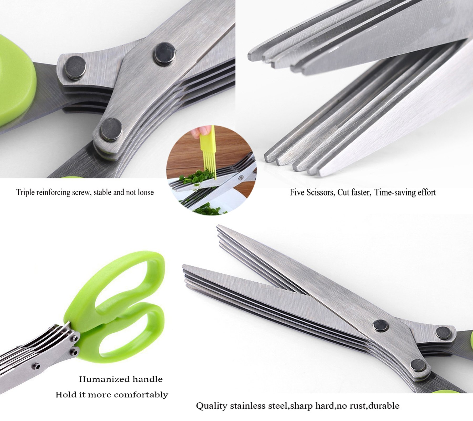 Herb Scissors, ProCIV Kitchen Shears 5 Blades Stainless Steel Herb Scissors with Cleaning Brush (Green)