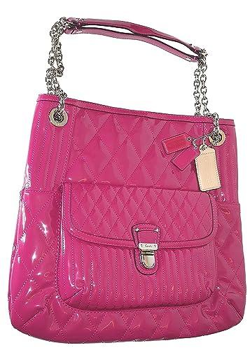 amazon com coach poppy liquid gloss slim tote shoulder bag magenta rh amazon com
