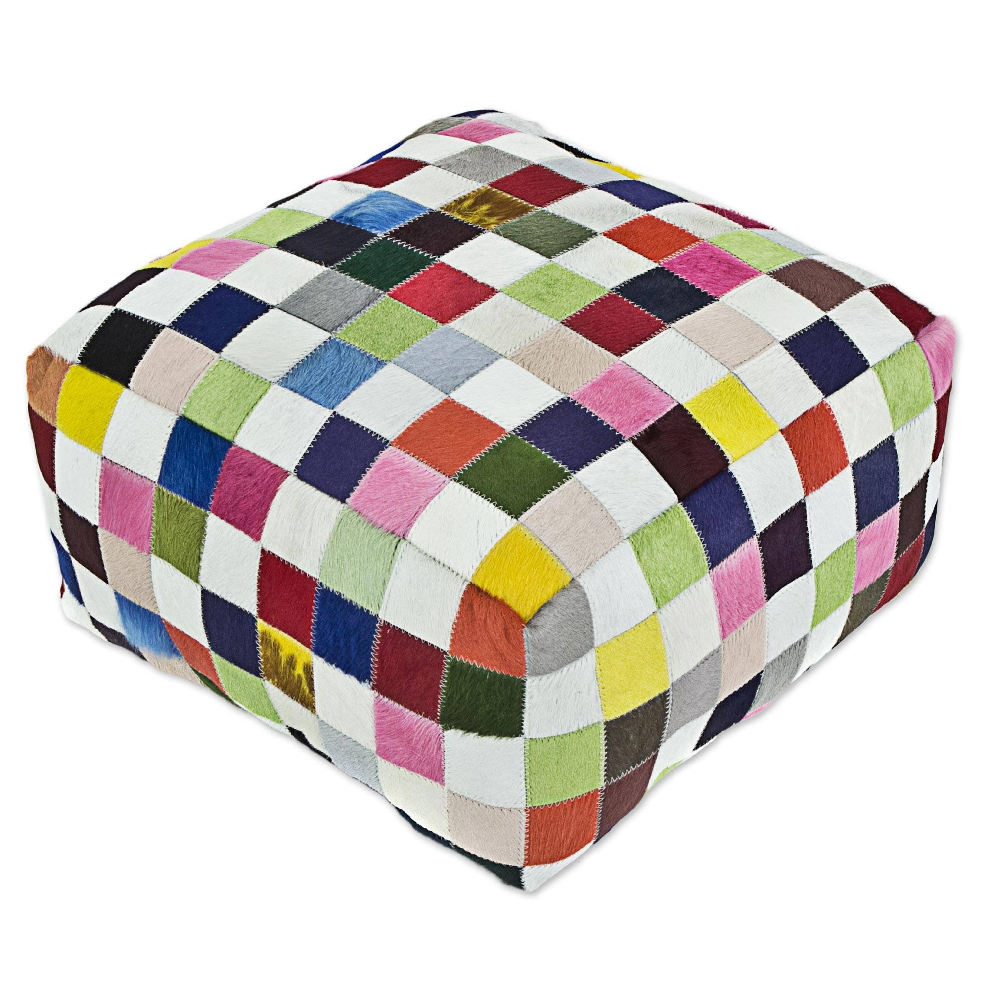 NOVICA Bohemian Leather Ottoman Covers, Multicolor, 'Carnival Checkerboard' by NOVICA