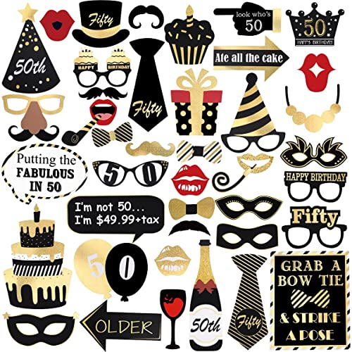 Unomor 50th Birthday Photo Booth PropsBronzing Party Props Kit For Decorations