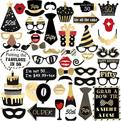 image regarding Free Printable Photo Booth Props Birthday identified as Unomor 50th Birthday Picture Booth Props, Bronzing Birthday Bash Props Package for Birthday Decorations,Resources,and Favors-44 Sections