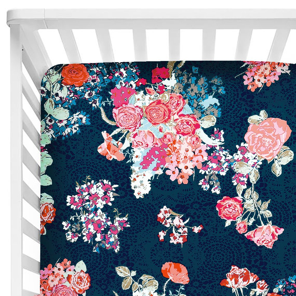 Sahaler Baby Floral Fitted Crib Sheet for Boy and Girl Toddler Bed Mattresses fits Standard Crib Mattress 28x52 (Navy Floral)