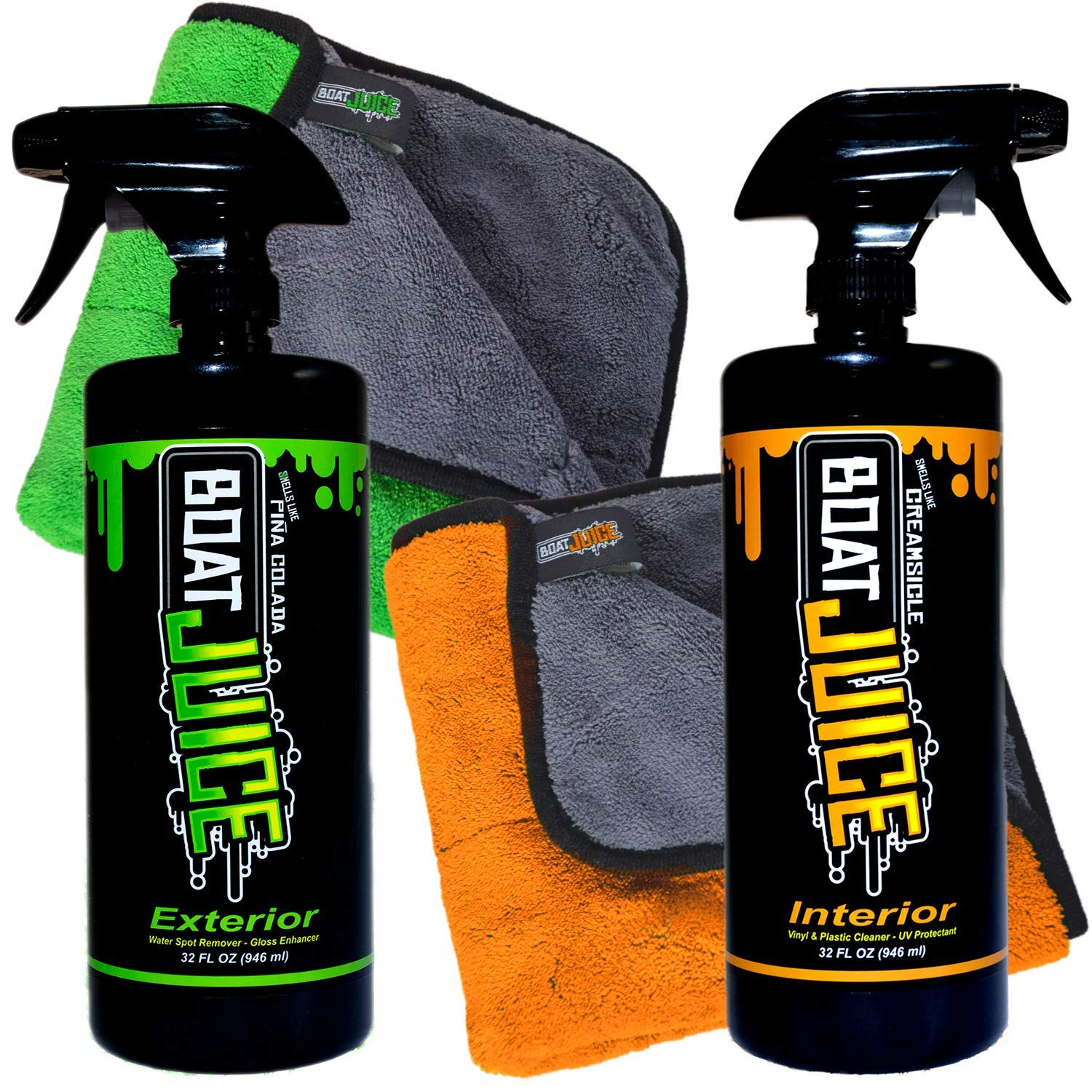 Boat Juice Cleaner Bundle Pack - 32oz Exterior Water Spot Remover Polymer Wax Sealant - 32oz Interior Boat Cleaner with UV Protectant - Includes Interior and Exterior Towels