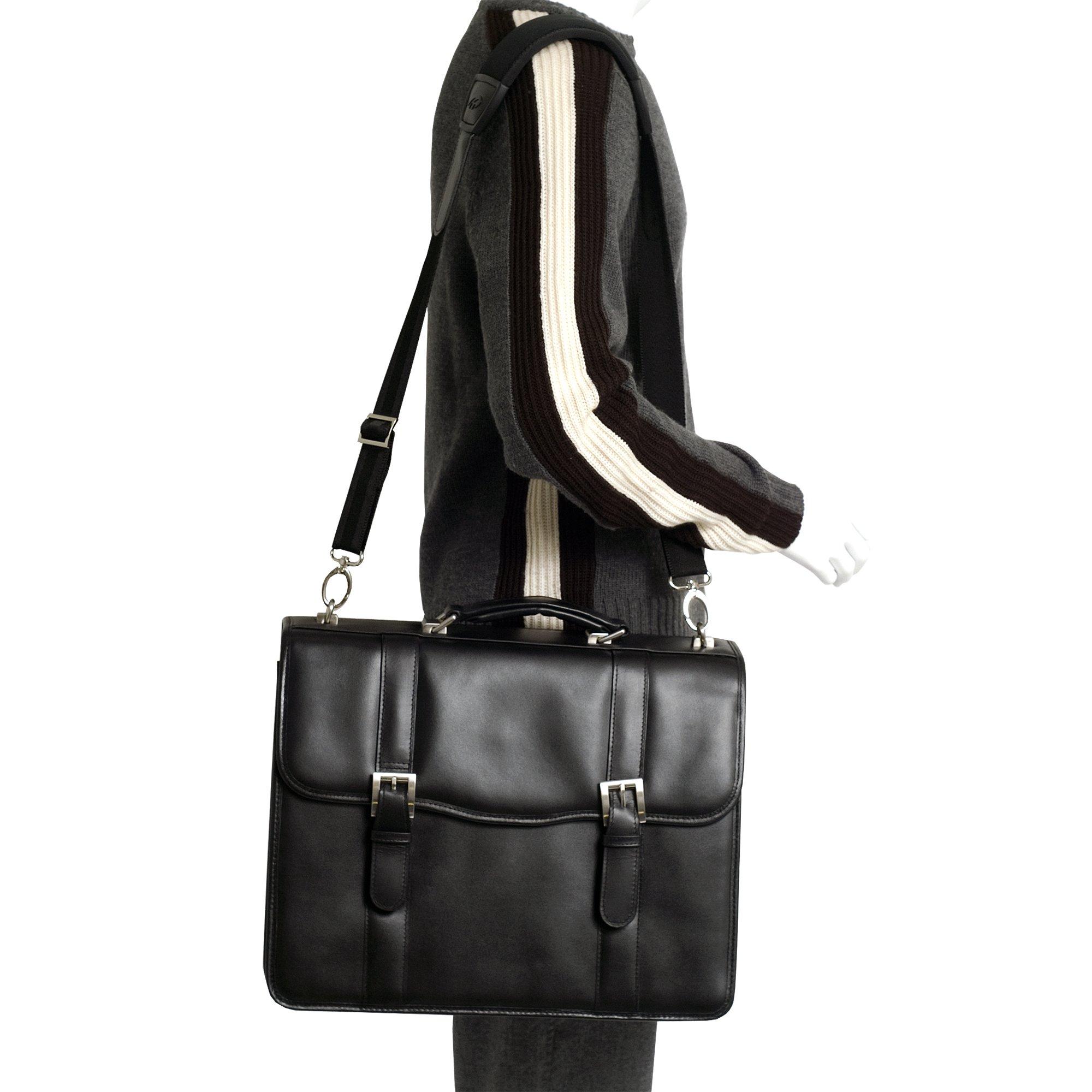 McKlein, V Series, FLOURNOY, Top Grain Cowhide Leather, 15'' Leather Double Compartment Laptop Briefcase, Black (85955) by McKleinUSA (Image #4)