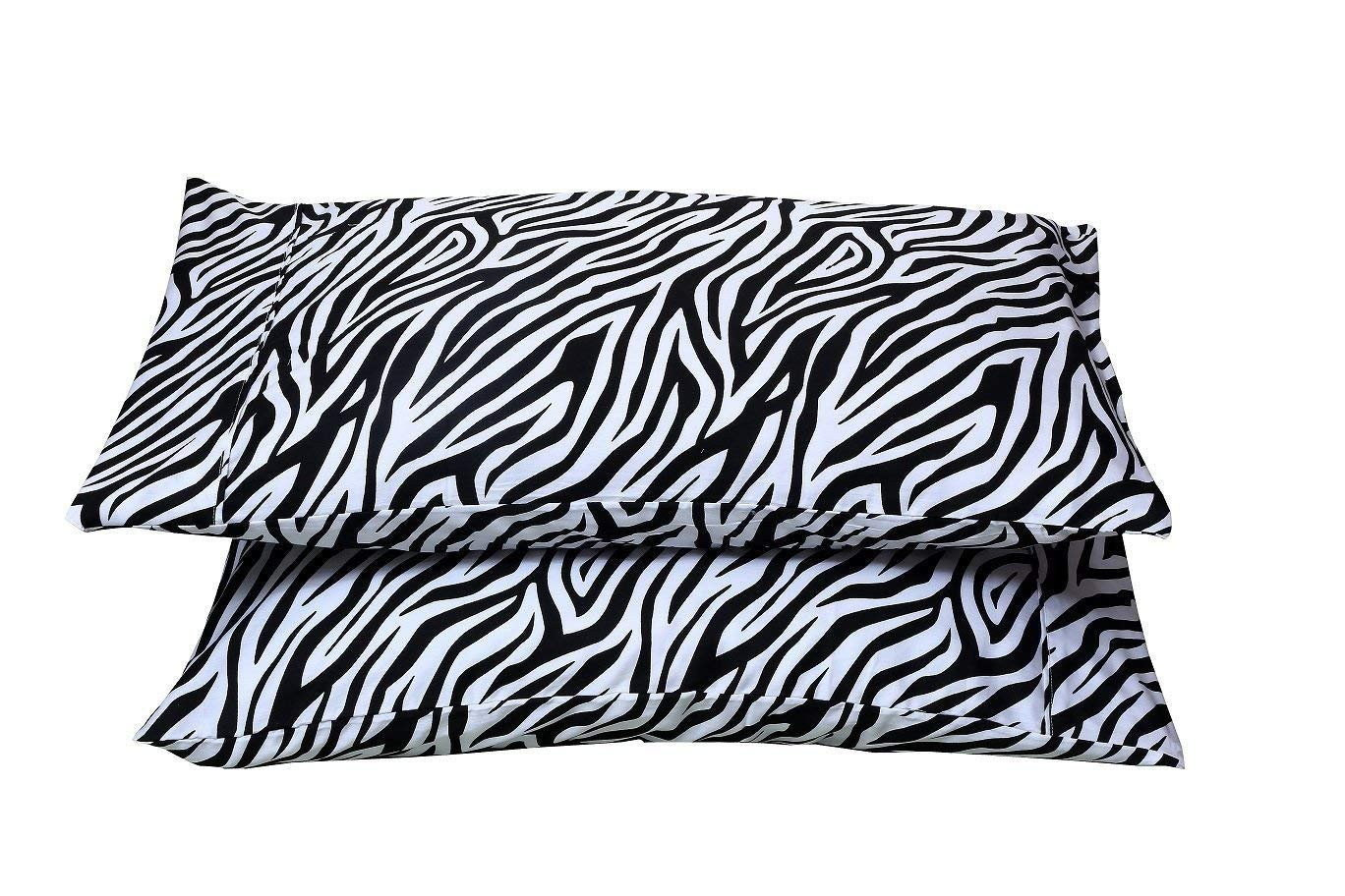 Standard, Zebra Print - 4'' Hems Set of 2 Pillowcases 400 Thread Count 100% Long Staple Cotton Luxury Hotel Quality Printed