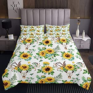 Sunflower Coverlet Set Queen Cow Skull Decor Bed Cover Set Plant Floral Printed Quilted Coverlet Simple Natural Style Bedding Comforter Set for Adult Teens Kids Botanical Theme Bedding Comforter Set
