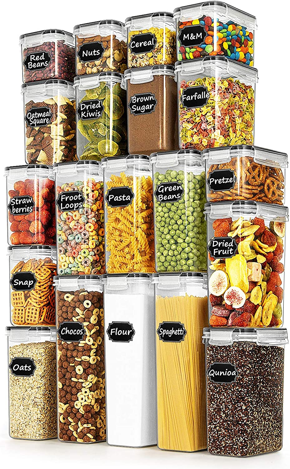Airtight Food Storage Containers - Paincco Cereal Storage Containers Set of 20 for Sugar, Flour and Baking Supplies, Leak Proof & BPA Free Kitchen Pantry Organization
