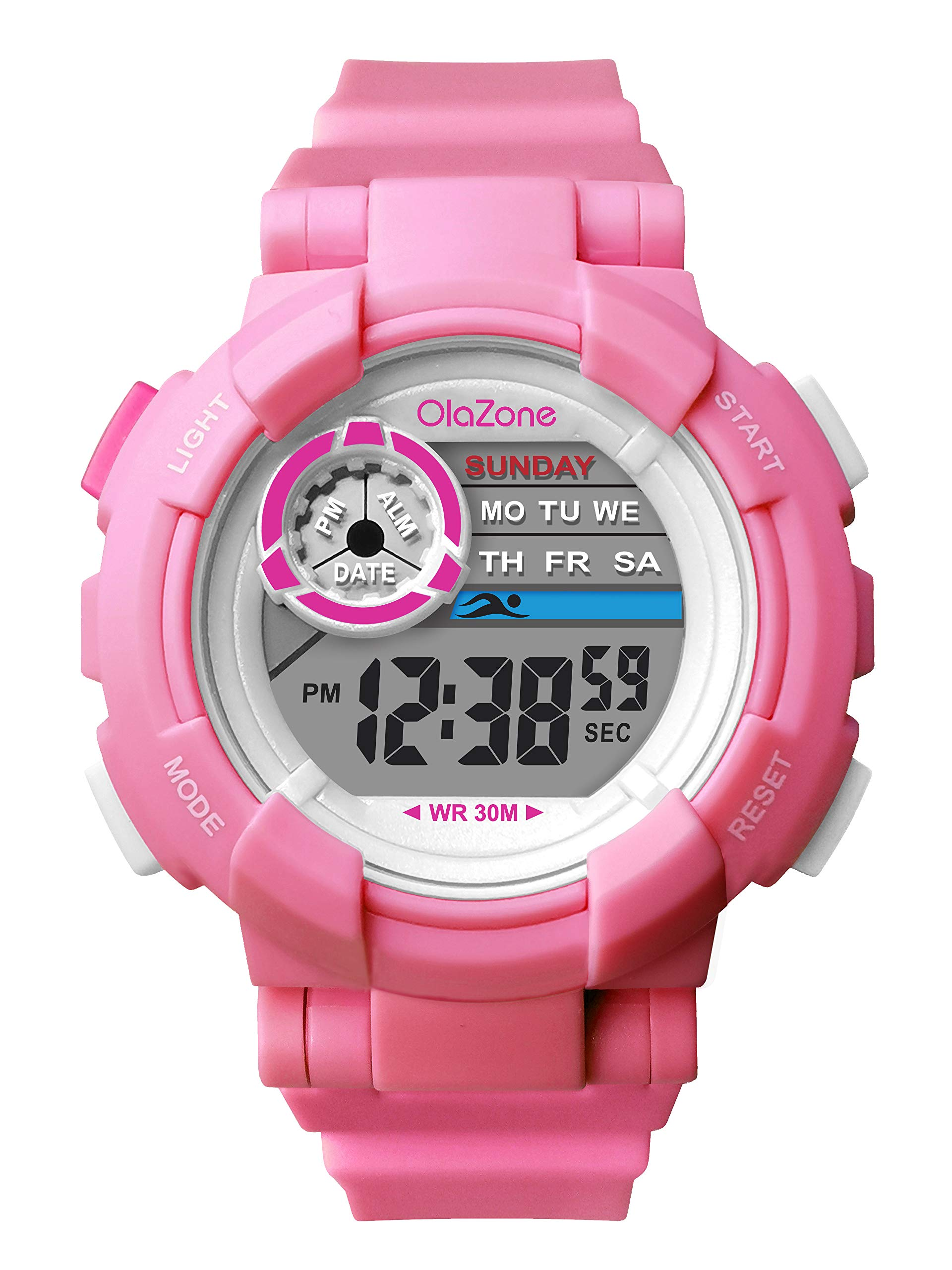 Kids Watch Girls Boys Digital Sports 7-Color Flashing Light Water Resistant 100FT Alarm Gifts for Girls Boys Age 5-10 481 (Pink-2)