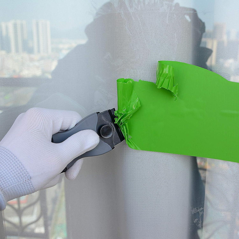 FOSHIO 2er Set Grau Schaber Pro mit 100pcs Kunststoffklingen Sicherer Multifunktionaler Plastik Schaber f/ür Auto//Fenster//Glas//Ceranfeld Aufkleber Entferner