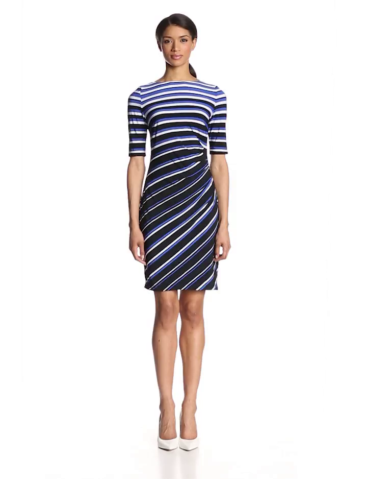Gabby Skye Women's Elbow Sleeve Side Gathered Stripe Dress, Black/Cobalt, 8