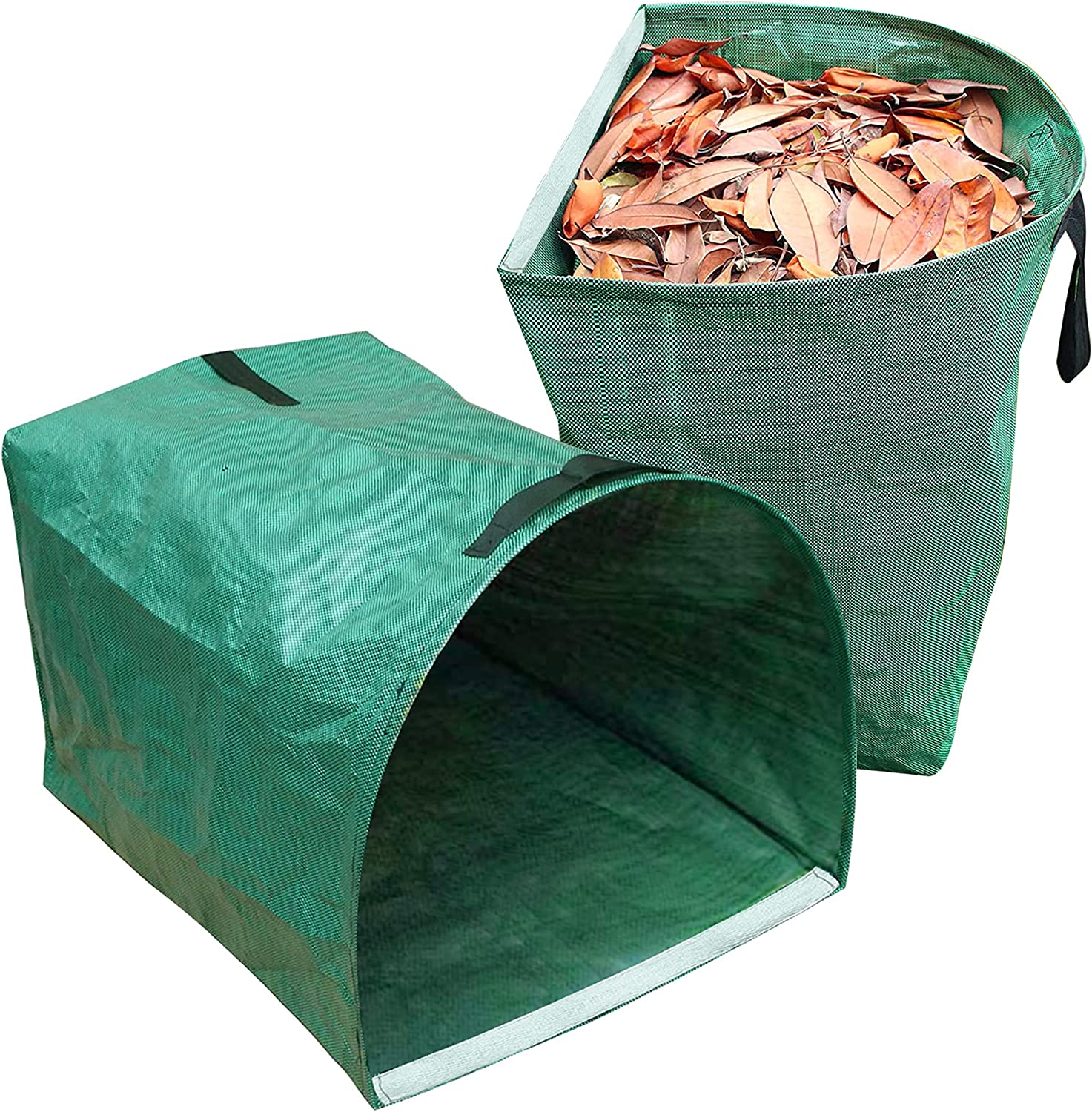 CREPRO 2 Pack 53 Gallons Reusable Garden Bags Large Yard Dustpan-Type Garden Bag for Collecting Leaves Reusable Heavy Duty Gardening Bags, Lawn Pool Garden Leaf Waste Bag