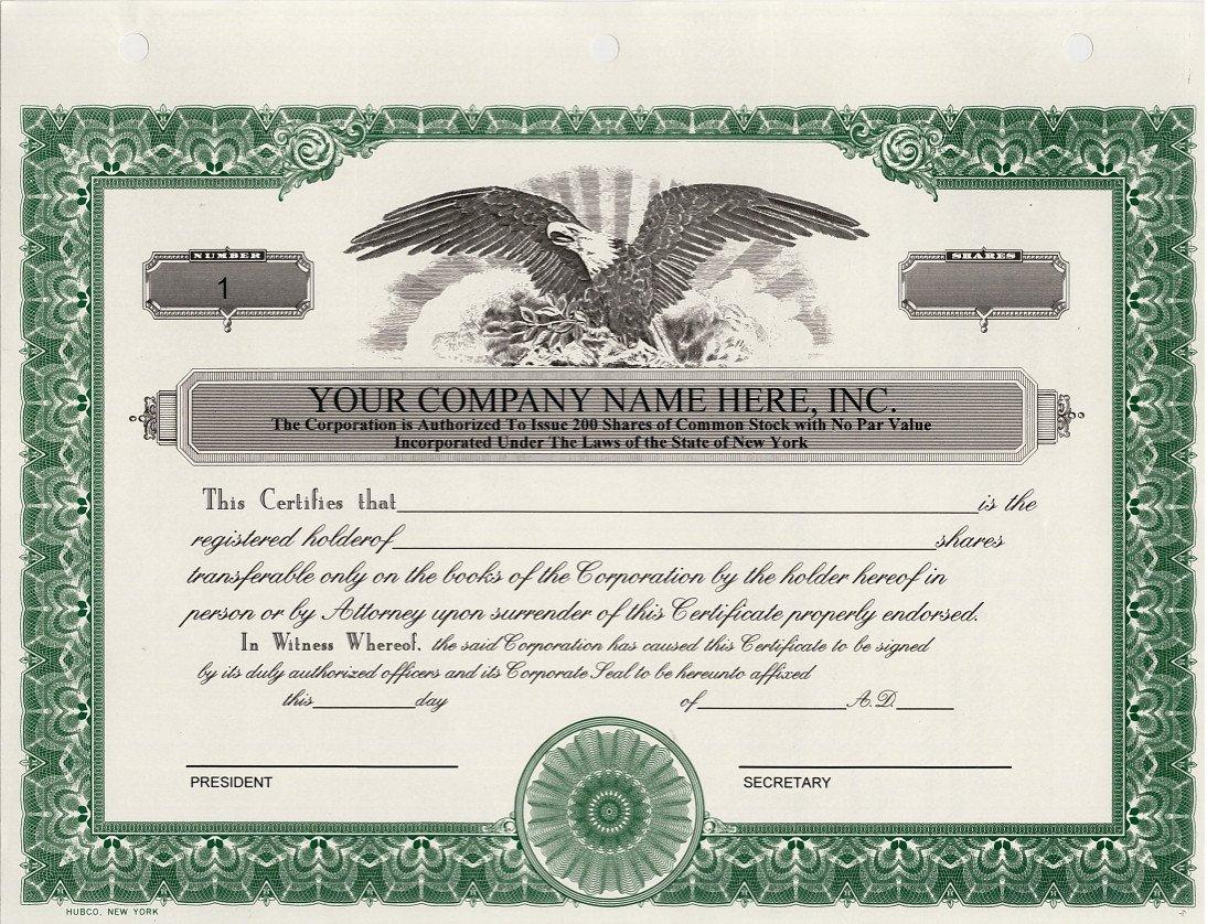 Amazon Custom Printed Corporate Stock Certificates Hubco