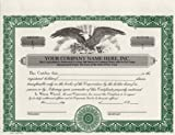 Custom Printed Corporate Stock Certificates, HUBCO, Green, 20-Pack