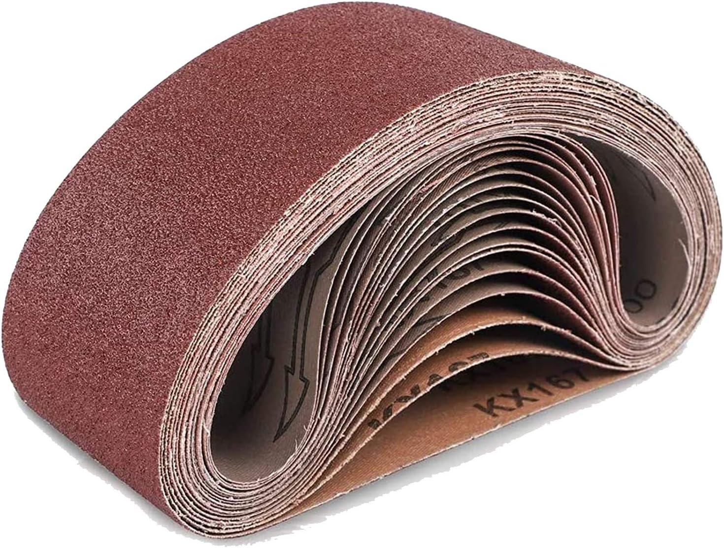 Remebe Lijadora de banda 75 x 533 mm Bandas de lijado Papel de lijadora de banda 40,60,80,120,180 Granos Banda de lijado de tela//tela Granos surtidos 10PCS