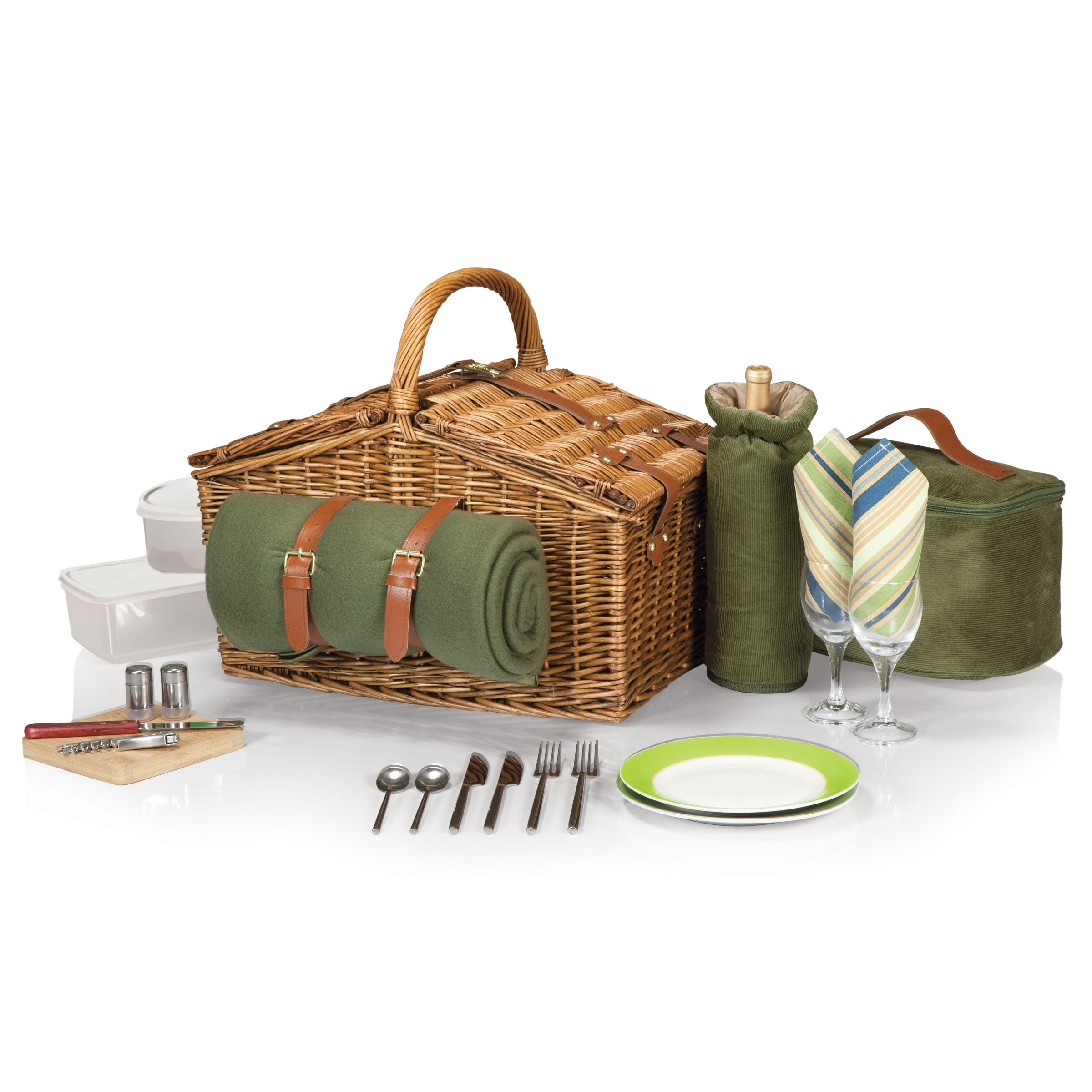 Picnic Time Somerset English-Style Double Lid Willow Picnic Basket with Service for 2, Sage Green with Stripes by PICNIC TIME
