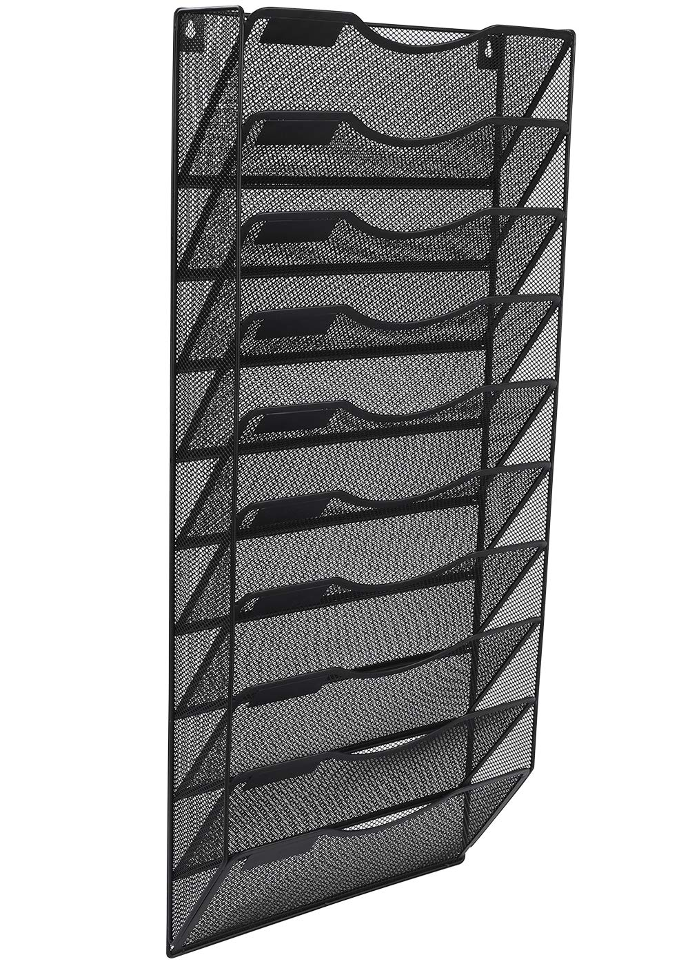 EasyPAG Office Wall File Holder Organizer Hanging Metal Magazine Rack 10 Tier, Black by EasyPAG