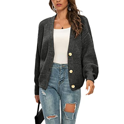 V Neck Long Sleeve Cardigans Sweaters for Women Knit Button Down Cardigans Loose Oversized Sweaters for Women Fall at Women's Clothing store