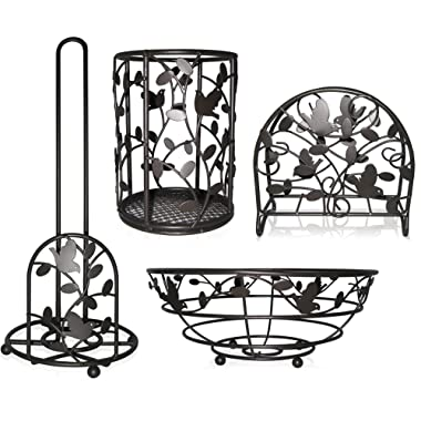 Deluxe Bird Song Collection 4pc Kitchen Table Décor Set, Napkin Holder, Paper Towel Stand, Fruit Bowl, Cutlery Holder - Bronze