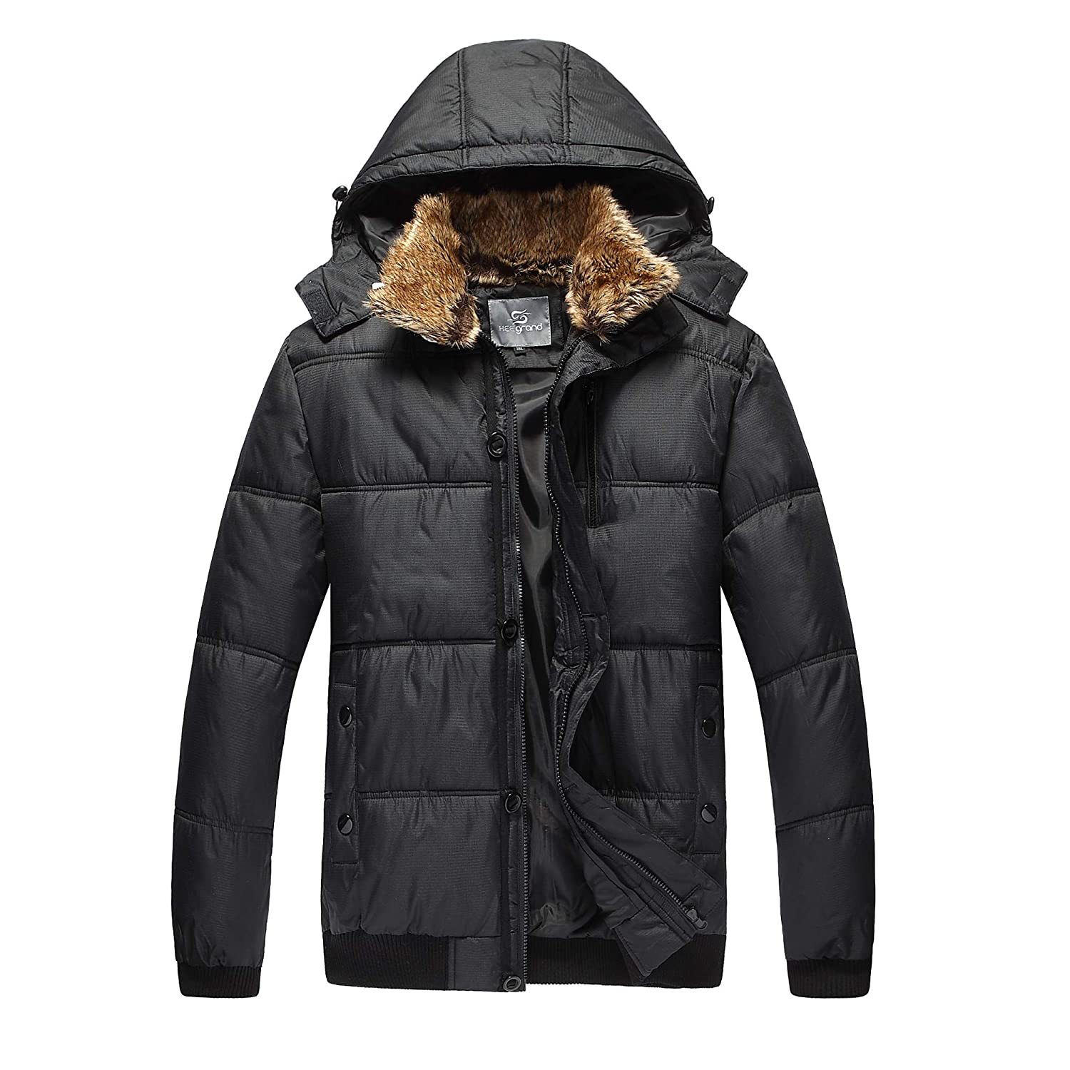Outdoor Thick Down Jacket with Removable Faux Fur Collar Hood Henoo Mens Hooded Winter Jacket Black /& White