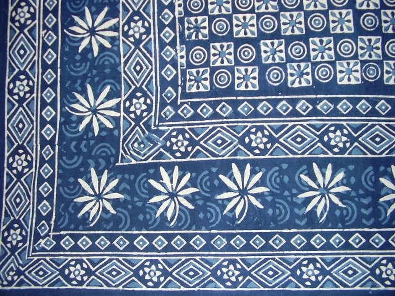 Dabu Indian Tapestry Cotton Bedspread 108 x 88 Full-Queen Blue