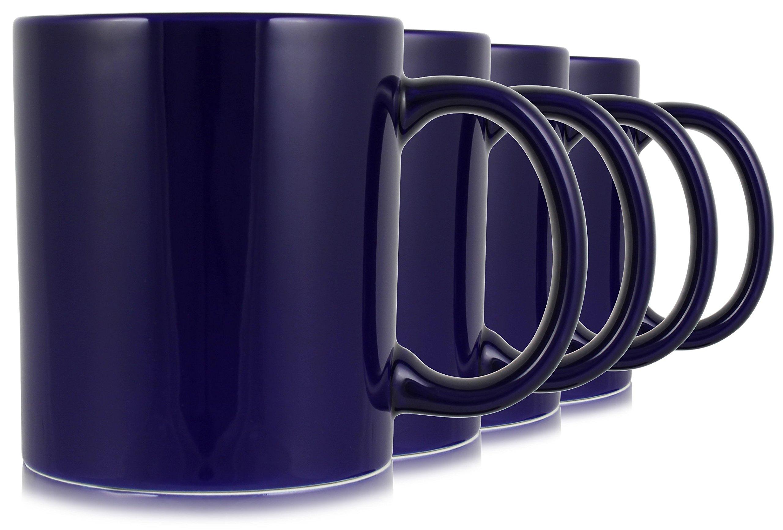 Serami 20oz Cobalt Large Classic Mugs for Coffee or Tea. Large Handle and Ceramic Construction, Set of 4