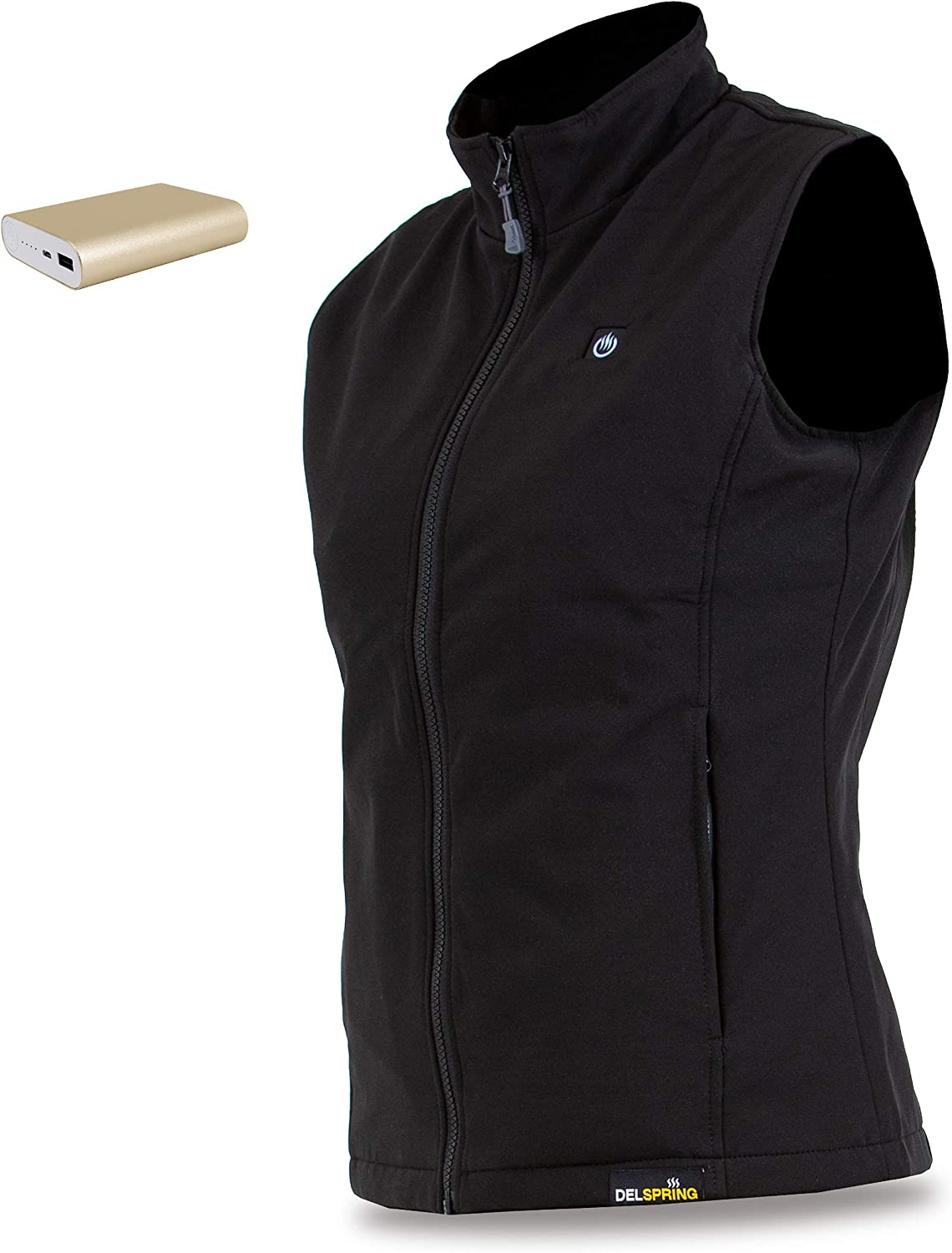 delspring Womens Soft Shell Heated Vest with Battery 12 Hour Windproof Heated Vest for Women