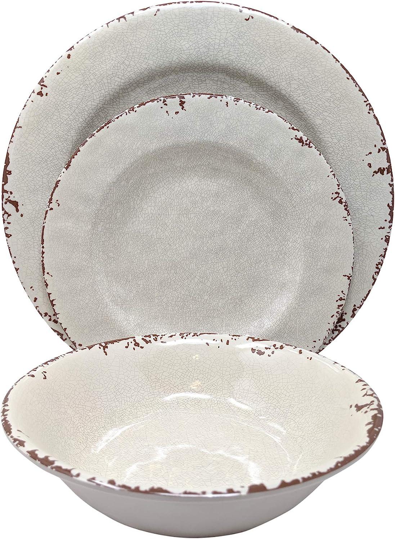 Aphorism Cream Rustic Floral Print MELAMINE Dinner Plates Set 4 Match Il Mulino