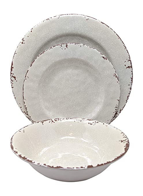 Rustic Melamine Dinnerware Sets.Gianna S Home 12 Piece Rustic Farmhouse Melamine Dinnerware Set Service For 4 New Ivory