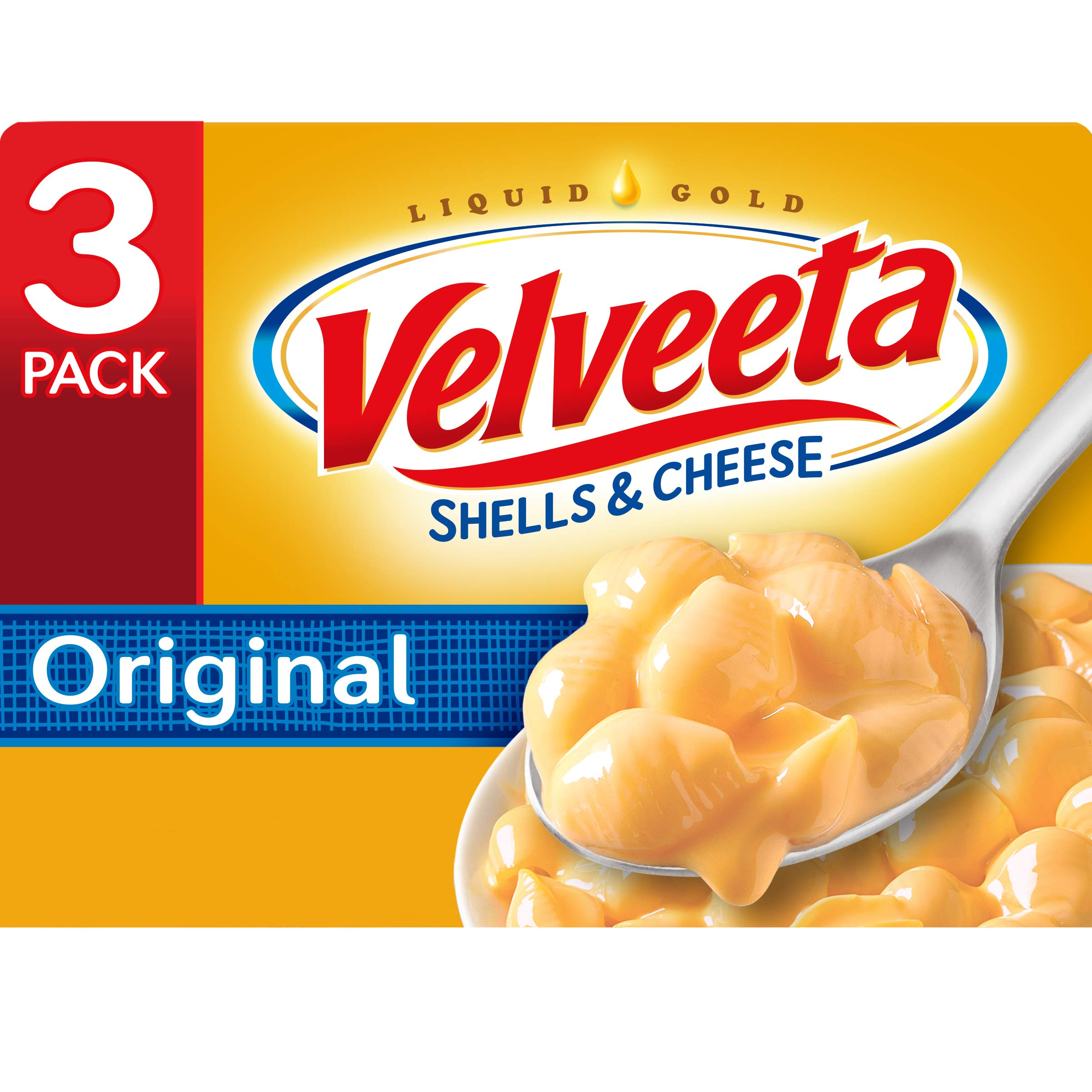 Velveeta Original Shells and Cheese Meal (12 oz Boxes, Pack of 3)