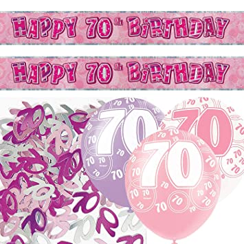 Unique bpwfa-4181 Glitz 70th cumpleaños Foil Banner Kit de ...
