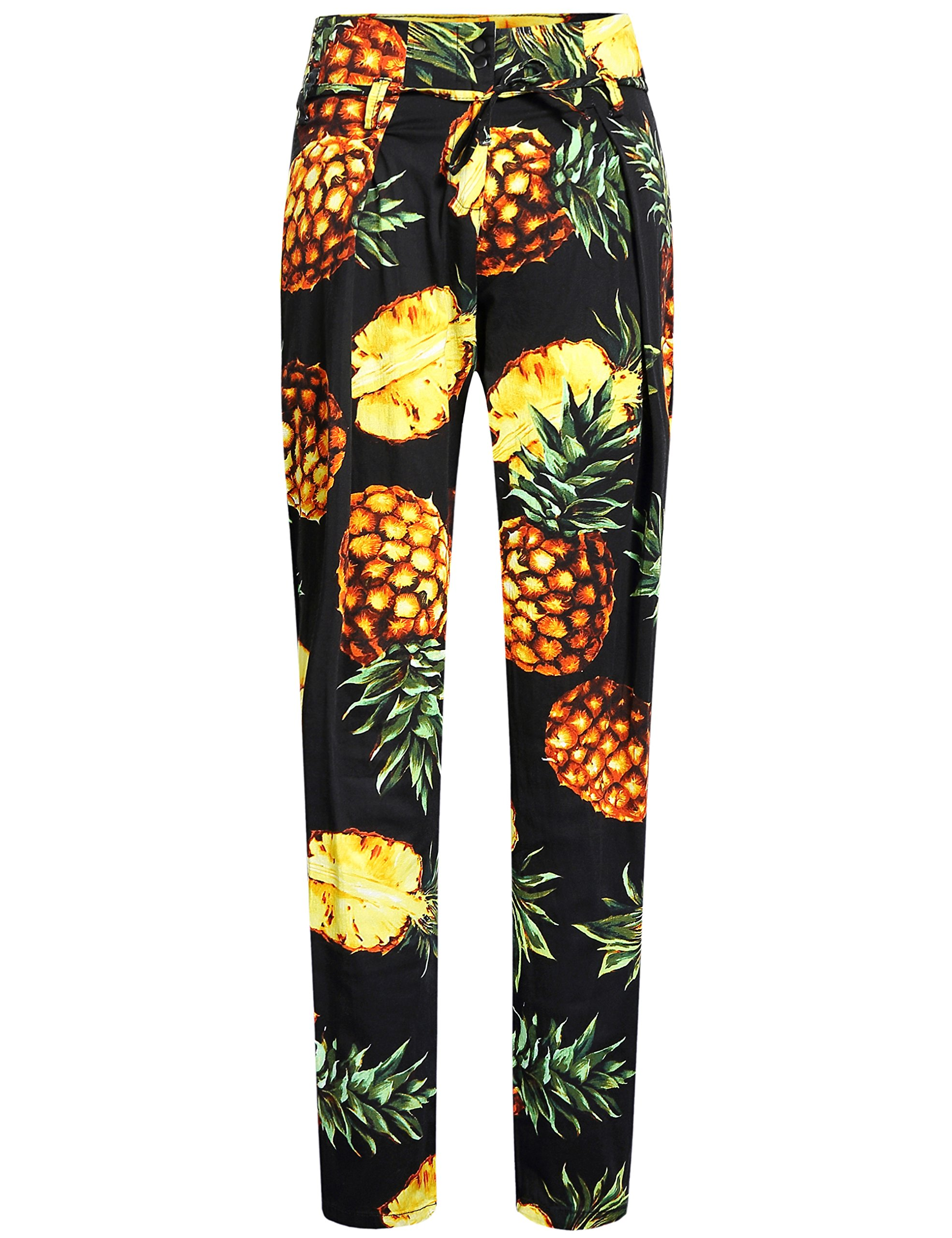 SSLR Women's Pineapples Relaxed Fit Casual Slim Leg Hawaiian Pants (W28 x L30, Black)