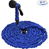 Amzdeal Expandable Garden Hose 50 ft with 7 Patterns Garden Spray Nozzle for Car Wash Cleaning Watering Lawn Garden Plants