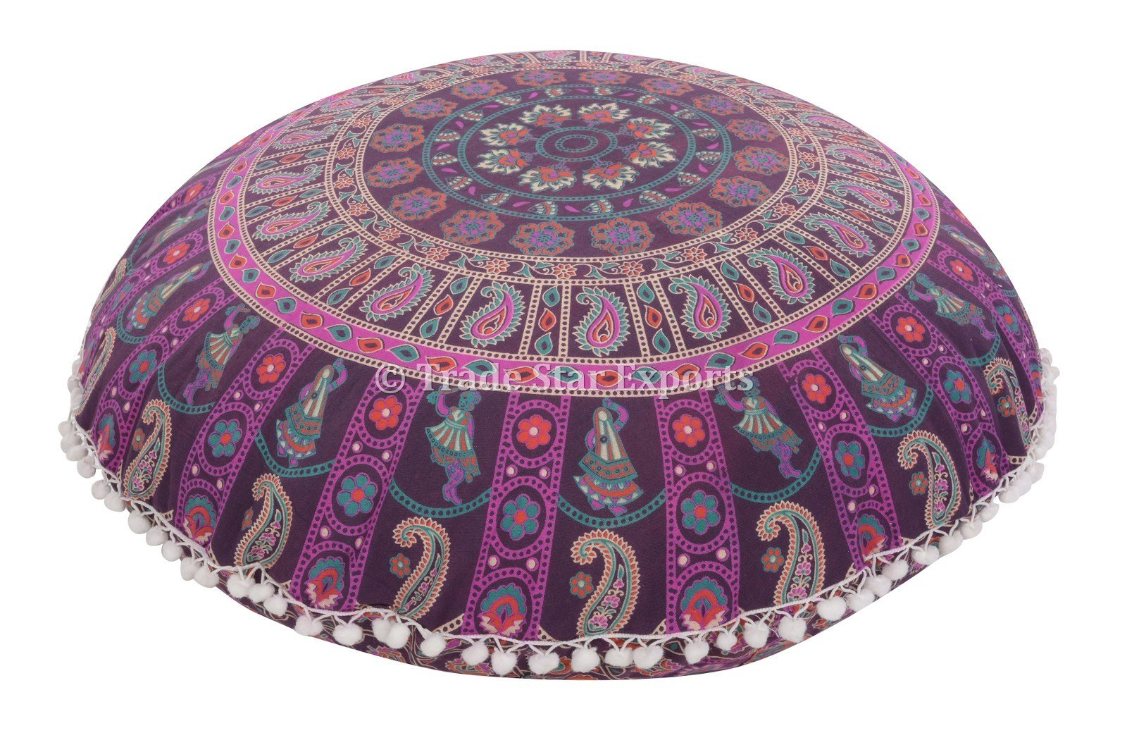 Large 32'' Round Pillow Cover, Decorative Mandala Pillow Sham, Indian Bohemian Ottoman Poufs, Pom Pom Pillow Cases, Outdoor Cushion Cover (Pattern 18)