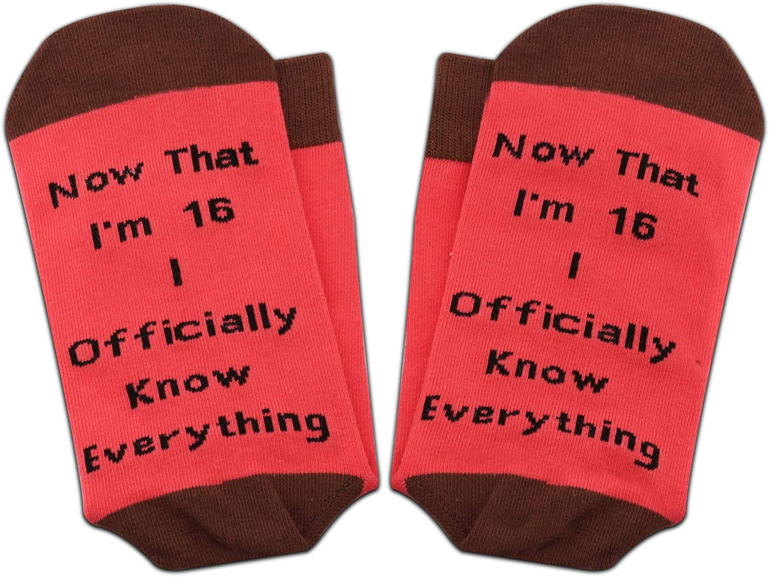 PXTIDY Sweet 16 Gift 16th Birthday Socks Now That I/'m 16 Officially Know Anything Socks Gift for 16 Years Old Girl