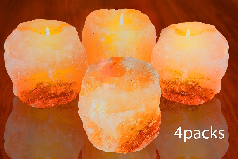 Mockins 4 Pack 2.5-lbs Natural Himalayan Salt Tea Light Candle Holder /…