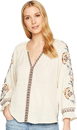 818d3156023ab9 Lucky Brand Women's Textured Embroidered Peasant Top Natural Multi Large