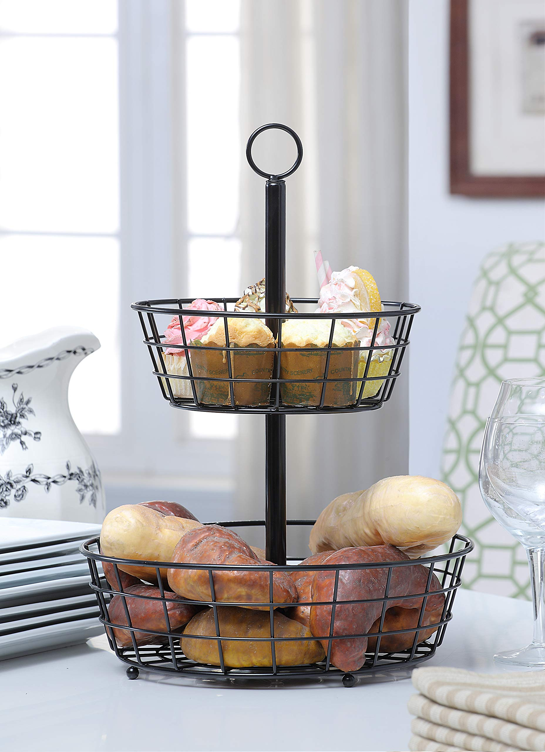 SunnyPoint Tabletop 2-Tier Countertop Fruit Basket Stand by SunnyPoint (Image #3)