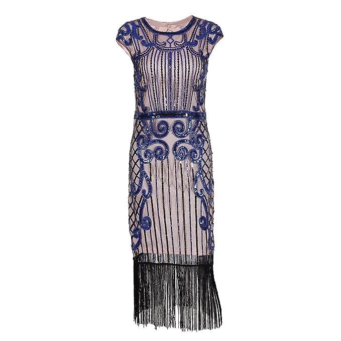 IMAGICSUN Mujer Gatsby Vestido Años 20 Estilo Vestido Cóctel Fiesta Vestir Vestido de Noche(S