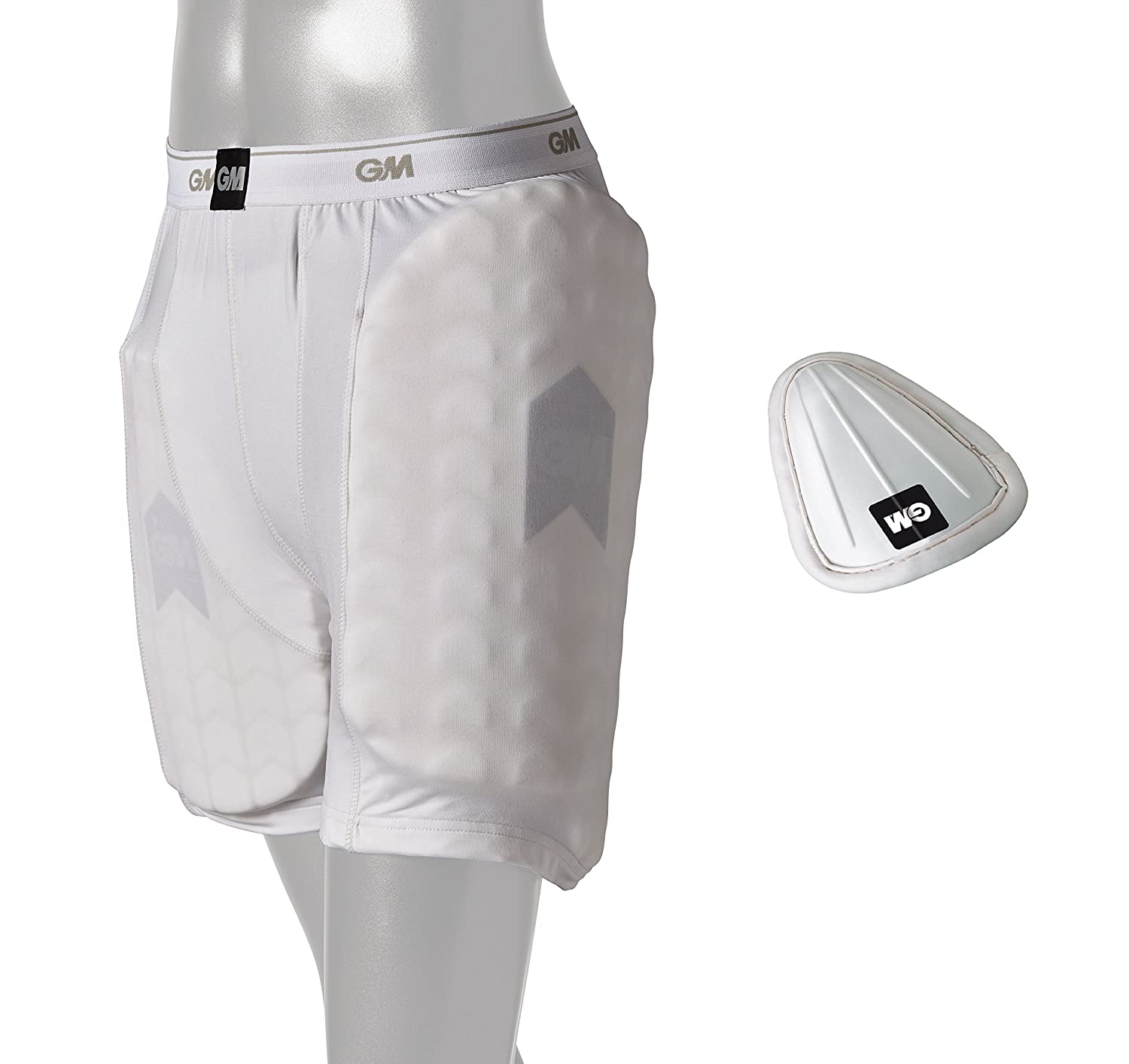 GM Cricket 909 Shorts with Protective Padding Set (Left & Right) and Abdominal Guard ' Men's Size   B07BB2WW3S