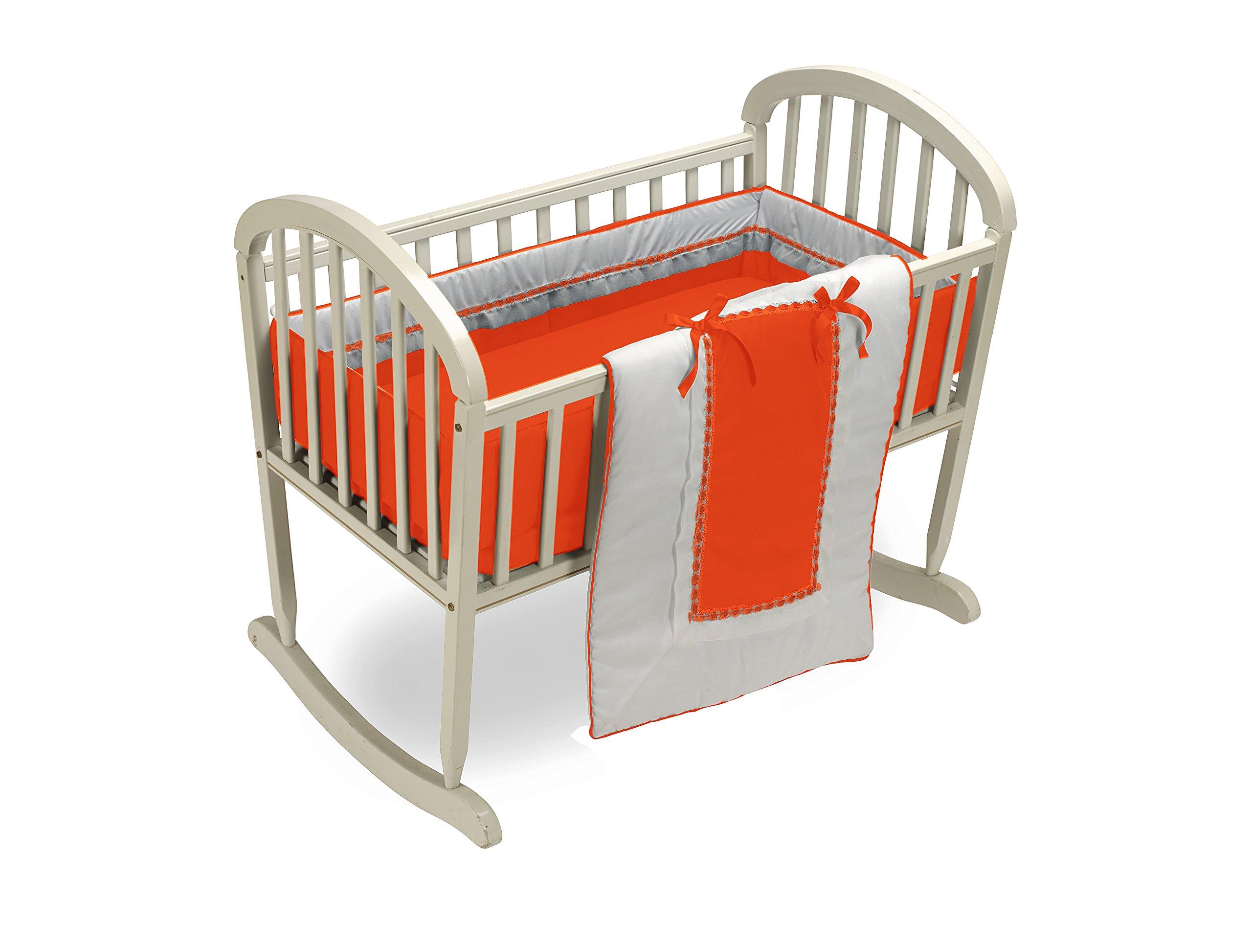 Baby Doll Bedding Royal Cradle Bedding Set, Orange
