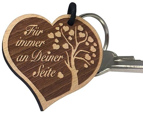 Endlosschenken - Llavero de madera en forma de corazón con ...