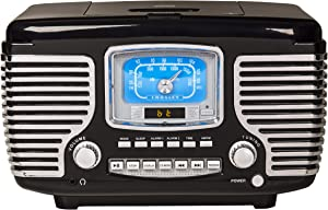 Crosley Corsair Tabletop Am/FM Bluetooth Radio with CD Player and Dual Alarm Clock, Black