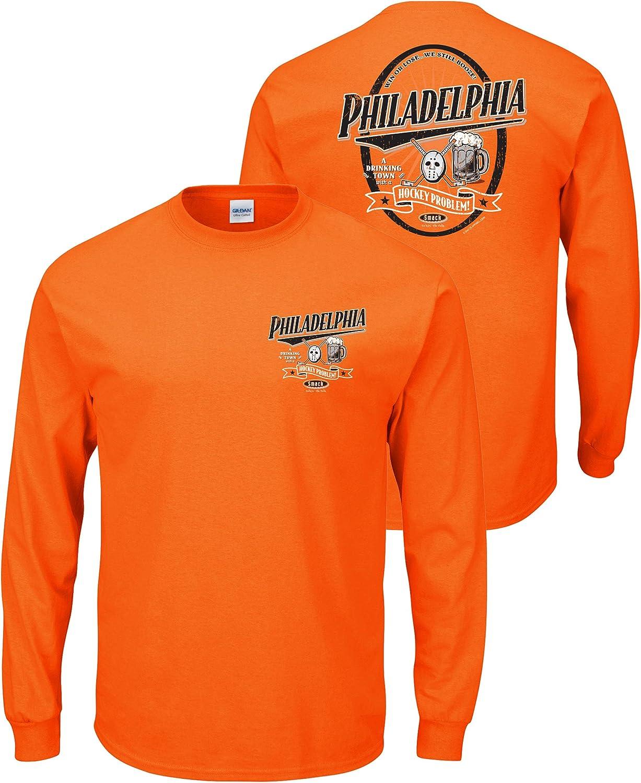 Orange T-Shirt Smack Apparel Philadelphia Hockey Fans Sm-5X A Drinking Town with a Hockey Problem