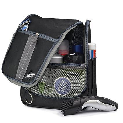 Neceser de viaje para hombres y mujeres – Bolsa de aseo plegable para viajes con muchos compartimentos y gancho resistente, Negro-Gris – de GLOBEPROOF