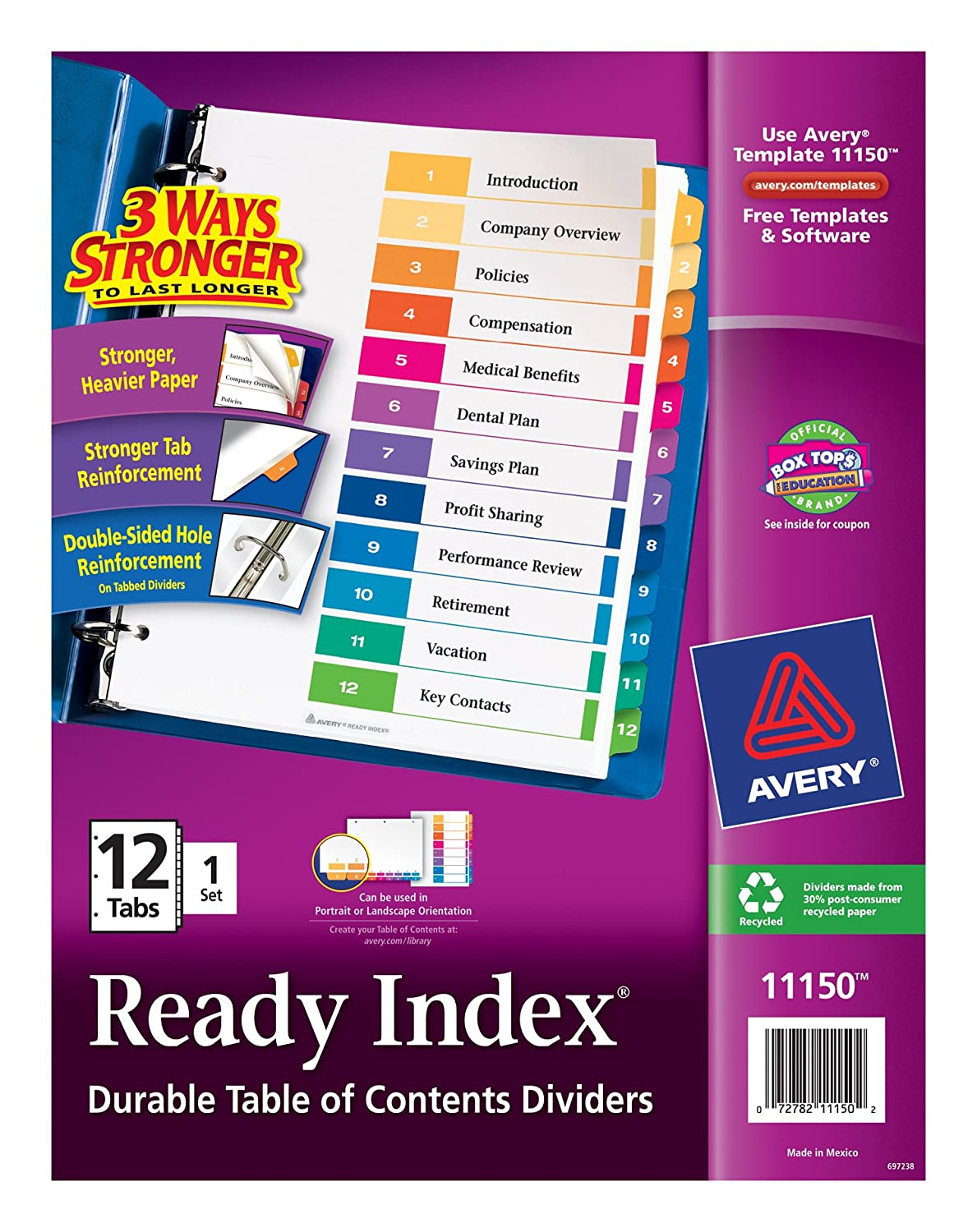 Amazon Avery Ready Index Table Of Contents Dividers