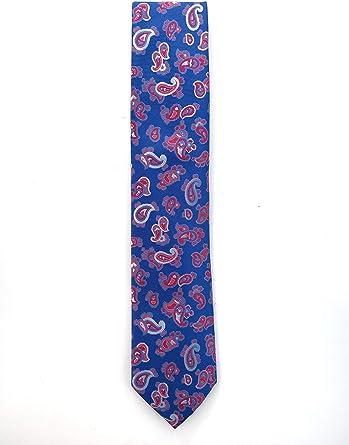 Francisco Pavón Corbata de fondo rojo con dibujo de cachemir en azulino.Medidas de la pala 8cm.Fabricada en España: Amazon.es: Ropa y accesorios