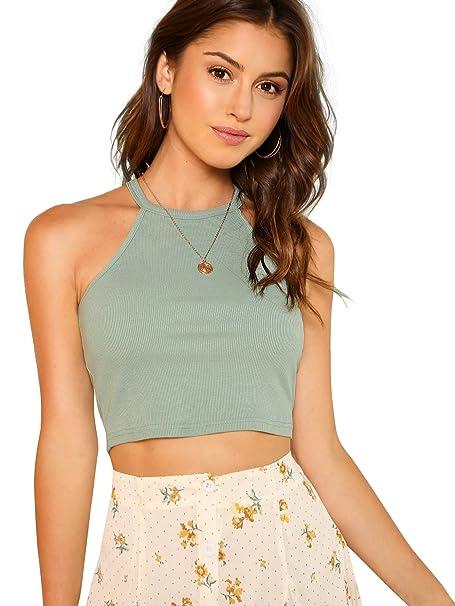 6598aa50145 SheIn Women's Sexy Sleeveless Basic Halter Striped Rib Knit Cami Crop Tops
