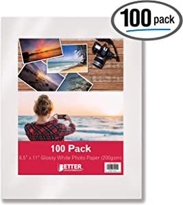 Glossy Photo Paper, 8.5 x 11 Inch, 100 Sheets, by Better Office Products, 200 gsm, Letter Size, 100-Count Pack