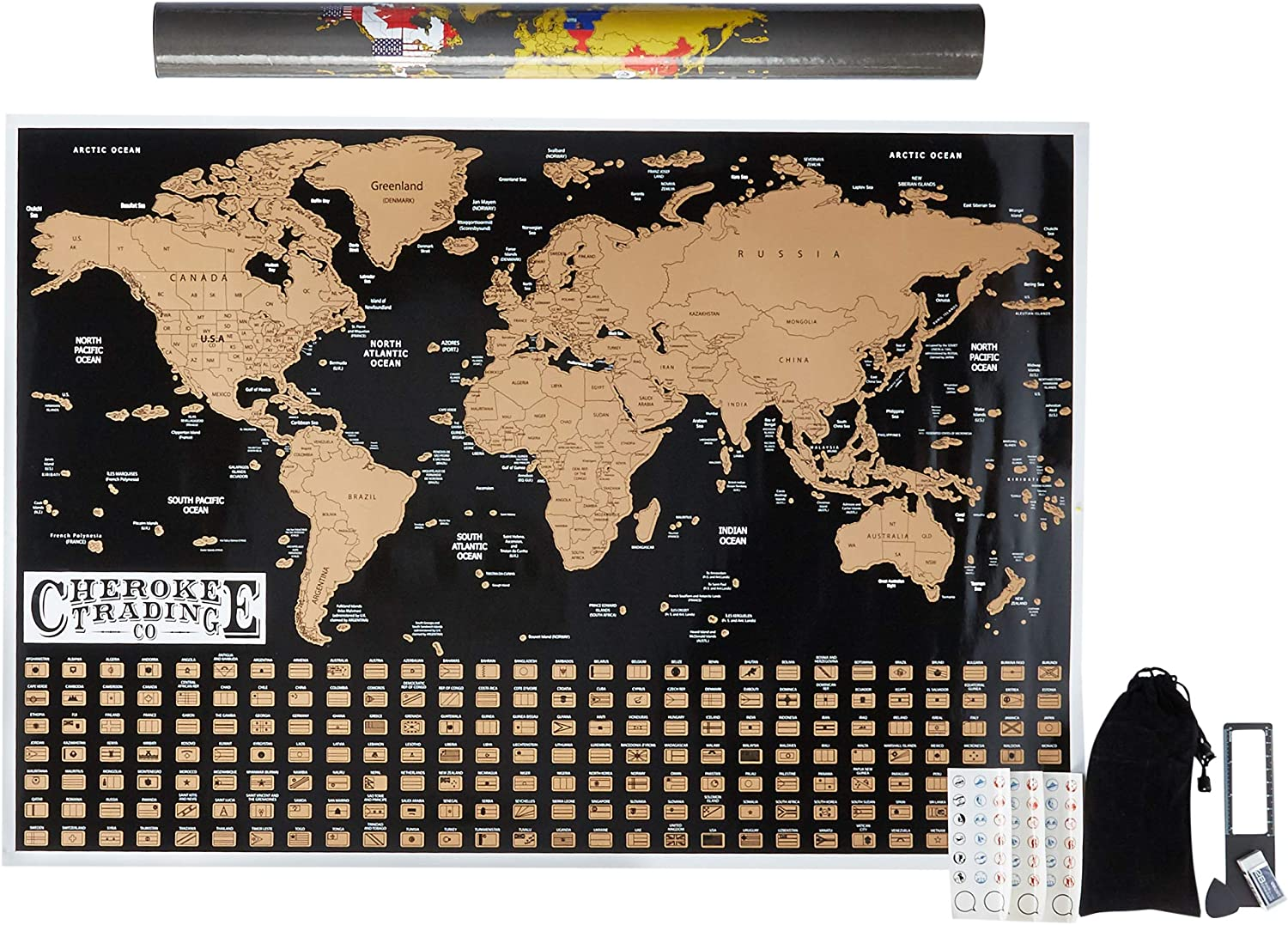 Large Scratch Off Map of The World, World Scratch-Off map with Country Flags Underneath, Traveler, 24