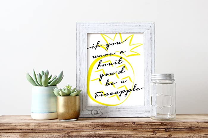 Pineapple Print   Girlfriend Wall Art   Gifts For Her   Office Decor    Bridesmaid Gift